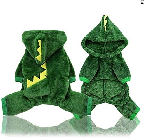 RUNS 2 Pack Coral Velvet Dog Clothes Pet Dinosaur Clothes Autumn and Winter Warm Four-Legged Clothes