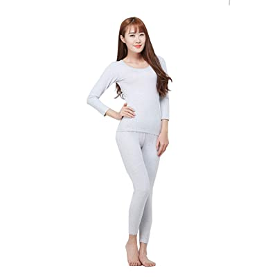 Womens Thermal Underwear 2 Piece Top & Bottom Long Compression Base Layer Set at Women's Clothing store