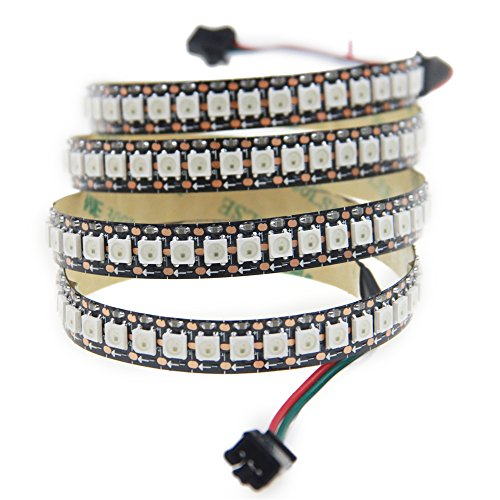 Aclorol WS2812B 144 Pixels Individually Addressable RGB LED Strip 5V, 3.3ft Programmable WS2812B WS2812 1M 144 LEDs Dream Color Strip Lighting Non-waterproof Black PCB