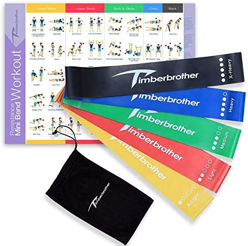 "Timberbrother Resistance Loop Bands with Workout Poster 16.5""x 22.4"",Set of 5 Exercise Bands for Crossfit Workout and Physical Training"