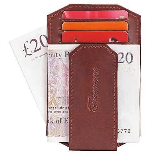 for Full Men Large Mens Grain Brown Money Vintage Clip Slim Rhombus Blocking Brown Wallet RFID Leather Leather 56EqwvqR