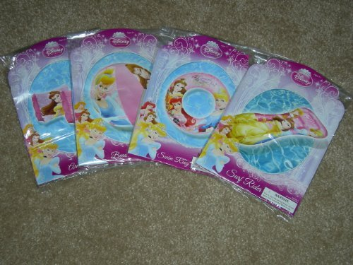Disney Princess Beach and Pool Fun Swimming Set - Swim Ring, Swim Raft, Beach Ball Bonus Arm Floats by Disney Princess