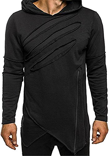 FCYOSO Men's Long Sleeves Creed Assassin Ripped Asymmetrical Hoodie Shirt (US,S/Asia,M) (Aynsley Henley)