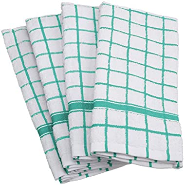 DII 100% Cotton, Machine Washable, Basic Everyday, Terry, Kitchen Dishtowel, Ultra Absorbant, Windowpane Design, 16 x 26  Set of 4- Aqua