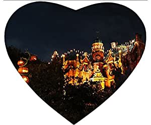 New Hot Comfortable Heart Shaped Mouse Pad - Customizable Printed On Halloween Night City And Pumpkin Tree Durable Cool Cheap Game Mouse Pad