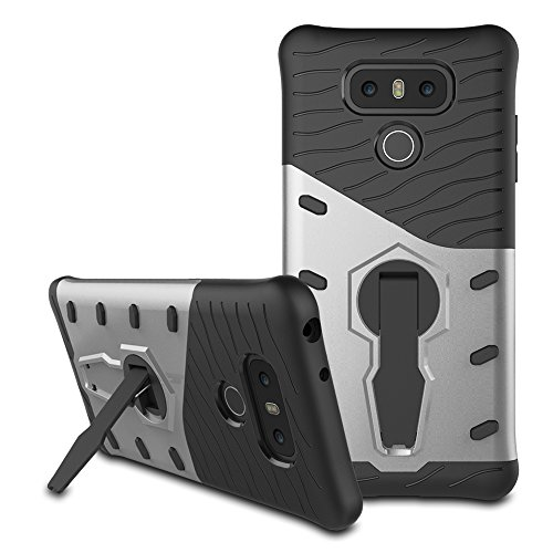 Price comparison product image LG G6 Case, TOODAY Heavy Duty Shockproof Dual Layer Hybrid Armor Defender Full Body Protective Cover With 360 Degree Rotating Kickstand Design for LG G6 (Silver)