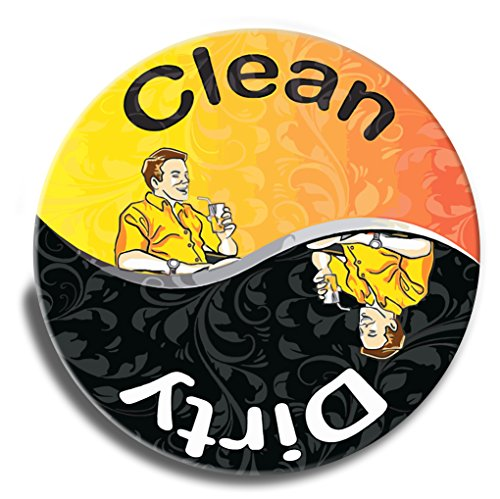 Supreme Dishwasher Magnet By Wollin - Durable Magnet Back Easy To Reposition - Large 3 Inch Clean & Dirty Magnet - Unisex & Unique Design - Made In The USA - Orange-Yellow & Black Clean & Dirty Sign (Refrigerator Covers Fat Chef compare prices)