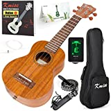 Kmise Soprano Ukulele 4 String Vintage Beginner Ukuleles Right Handed Natural Color 21 Inch Hawaiian Guitar With Starter Pack (Gig Bag Tuner Strap String Instruction Booklet) (KMU21S)