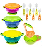 Baby Bowls Feeding Set with Baby Fork and Baby Spoons | Toddler Bowls with Baby Food Masher |Suction Baby Bowl for Toddlers with Toddler Utensils| BPA Free Baby Shower Registry Must Haves