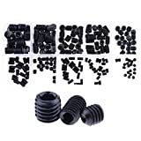 Hilitchi 200pcs M3/4/5/6/8 Allen Head Socket Hex Grub Screw Set Assortment Kit with Plastic Box 12.9 Class Black Alloy Steel
