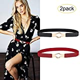 JASGOOD 2 Pack Women Retro Elastic Stretchy Metal Buckle Skinny Waist Cinch Belt 1Inch Wide (FIts Waist 33''-42'', 5-Black/Red)