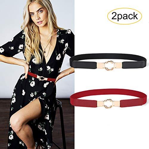 (JASGOOD 2 Pack Women Retro Elastic Stretchy Metal Buckle Skinny Waist Cinch Belt 1Inch Wide (FIts Waist 26