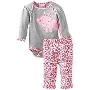 Carter's Watch the Wear Baby-Girls Newborn Kitty Bodysuit Pant Set, Dark Pink, 0-3 Months