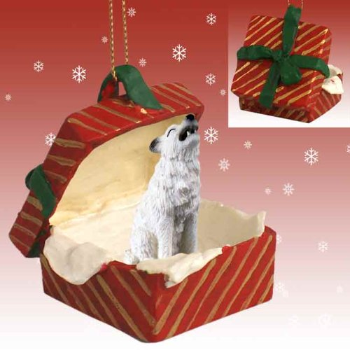 White Gingerbread Dog House Ornament - Conversation Concepts Wolf White Gift Box Red Ornament