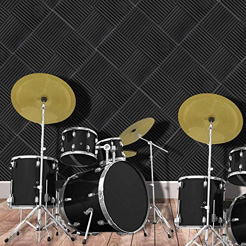 GLTL Large Size 20 X 20 X 2 8 Pack Acoustic Panels Studio Foam Wedges Fireproof Soundproof Padding Wall Panels 8 PCS Black