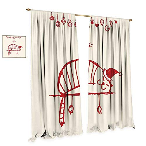 Christmas Window Curtain Drape Funny Cat Sleeping with a Hat and Little Fairy Hanging Xmas Ornaments Artistic Style Decorative Curtains for Living Room W108 x L108 Red