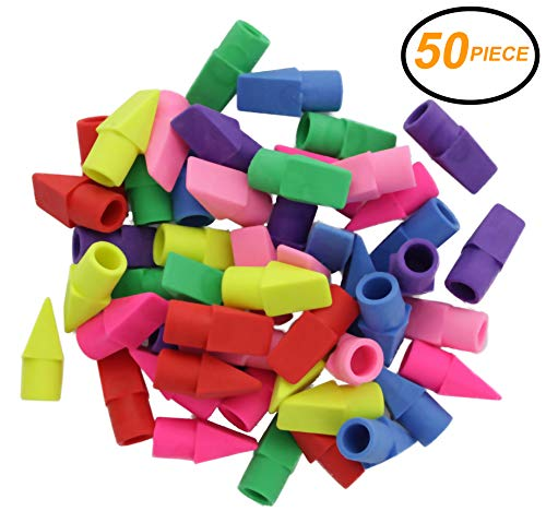 Emraw 6 Assorted Color Cap Fun Mini Eraser Top for Pencils - Use in School, Home & Office (50 Pack) ()