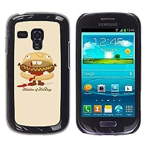 Qstar Arte & diseño plástico duro Fundas Cover Cubre Hard Case Cover para Samsung Galaxy S3 III MINI (NOT REGULAR!) / I8190 / I8190N ( Hot Dog Sandwich Junk Food Animation Art)