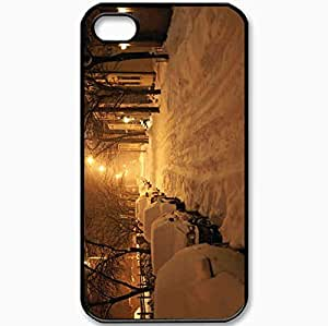 Protective Case Back Cover For iPhone 4 4S Case Street Snow Winter Black