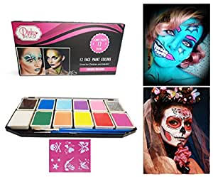 Face Paint Kit for Kids and Adults - 12 Colors XL Set 2 Glitters and 6 Stencils (2 Glitter)