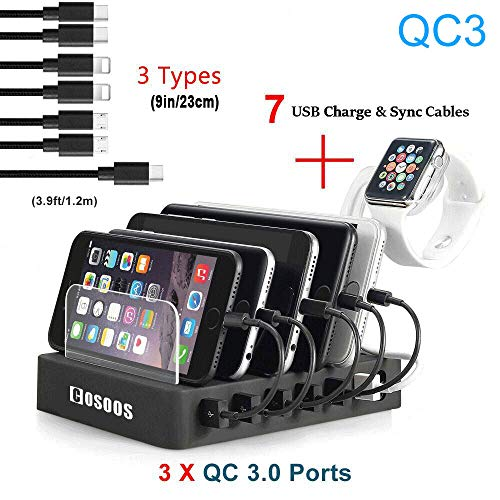 Charging Station for Multiple Devices,75W Fastest COSOOS USB Charging Station with 3X QC3, 7 Phone Charger Cables(3 Type),iWatch Stand,6-Port USB Charger Station for Samsung,Kindle ()
