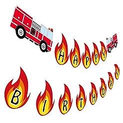 Firetruck Birthday Banner, Fireman Happy...
