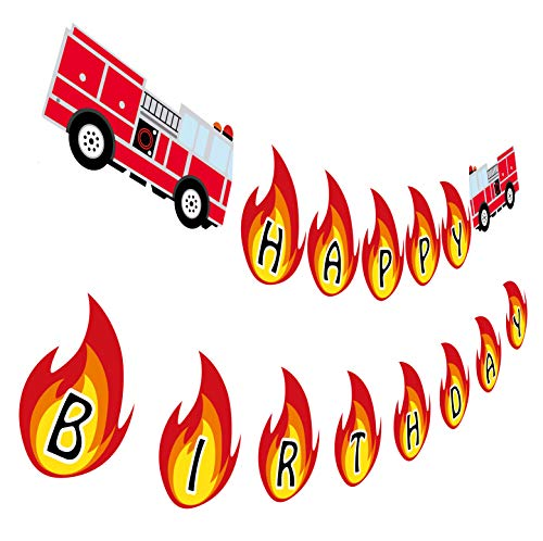 Truck Birthday Fire Party - Firetruck Birthday Banner, Fireman Happy Birthday Party Sign, Fire Engine Rescue Bday Decoration