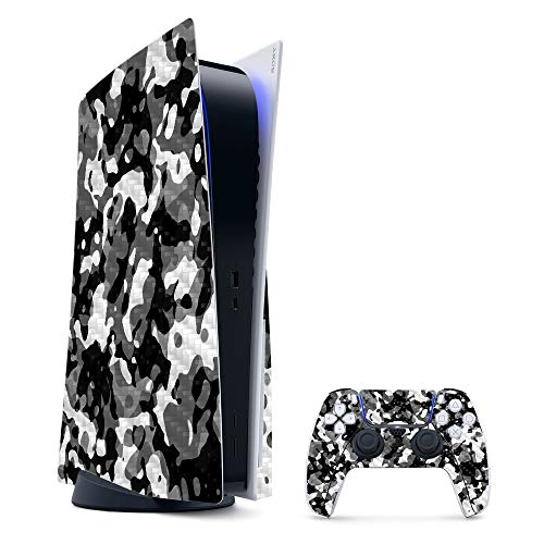 MightySkins Carbon Fiber Skin Compatible with PS5 / Playstation 5 Bundle - Black Modern Camo | Protective, Durable Textured Carbon Fiber Finish | Easy to Apply and Change Styles | Made in The USA