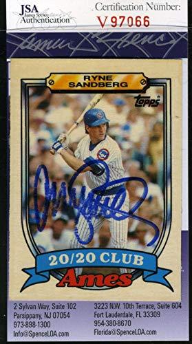 (RYNE SANDBERG 1989 Topps Ames JSA Coa Hand Signed Authentic Autograph)