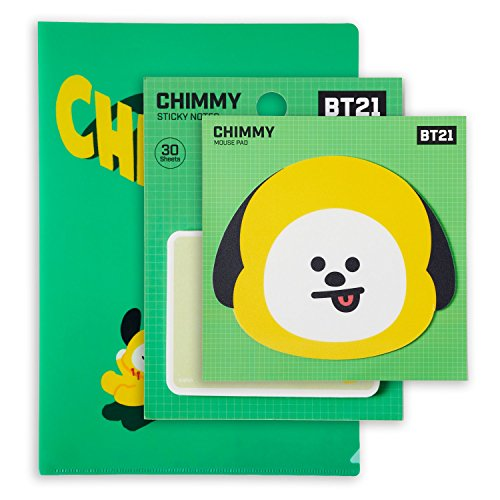 Character File - BT21 Official BTS Merchandise by Line Friends - CHIMMY Character Cute 3pc Office Supplies Set with File Folder, Sticky Note, and Mouse Pad