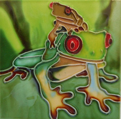 Tile craft frog ceramic art tile coaster 4x4 inches with easel back ()