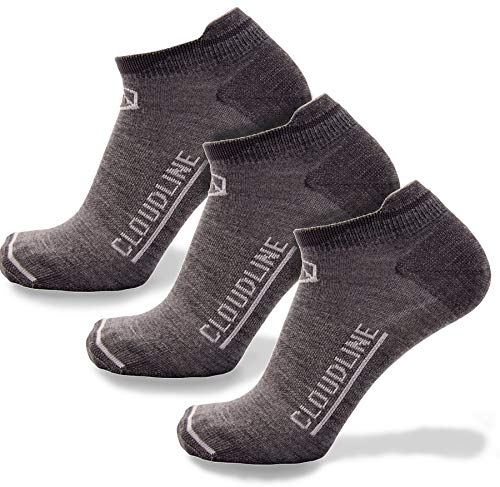 CloudLine Merino Wool Ultra-Light Athletic Tab Ankle Running Socks - 3 Pack - Medium Granite - for Men & Women ()