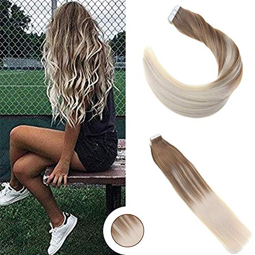 Ugeat 16quot Glue in Human Hair Extensions Full Head Balayage Ombre Hair Extensions Dip Dye Hair Color #6 Fading to #60 Tape in Real Hair Extentions 50Gram