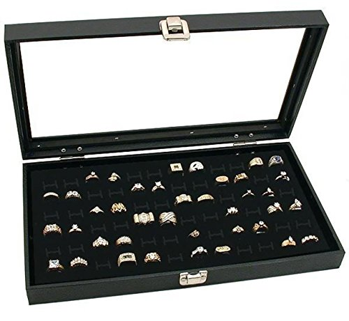 Jewelry Box 72 Black Trays (Novel Box Glass Top Black Jewelry Display Case 72 Slot Compartment Ring Tray)