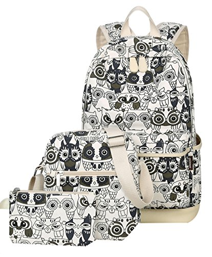JiaYou Canvas Laptop Bag Shoulder Bag Pen Bag 14L School Backpack 3 Sets(StyleAGreen Owl,14L)