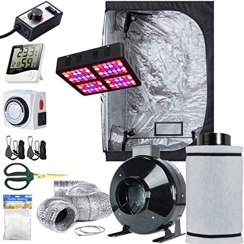 HTG Supply 2×4 Hydroponic LED Grow Kit OTD 84 Full Spectrum LED Grow Tent 24 x48 x60 Bubble Boy DWC Bucket System Advanced Nutrients
