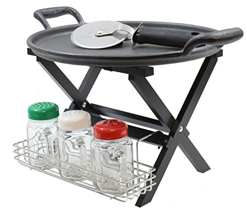 Tablecraft PIZZAKIT2 Party Pack Includes Mini Tray Stand, Rack, 3-8 Oz Mason Jars Cutter, Cast Iron Pizza Pan, 13.50