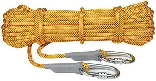登山ロープ、屋外ハイキングクライミング RopeSafety エスケープクライミング機器消防救助パラシュートロープ (10m、15m、20m、25m、50 m) 2 個カラビナ,a,10.5mm25m