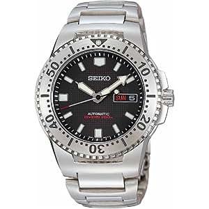 Seiko SKXA49K1 - Reloj analógico de caballero automático con correa de acero inoxidable plateada - sumergible a 200 metros