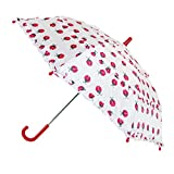 CTM Kids' Ladybug Print Ruffle Stick Umbrella with Hook Handle, White
