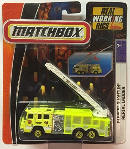 Matchbox Real Working Rigs, Pierce Quantum Aerial Ladder (Light Green) 1:64 Scale by Matchbox