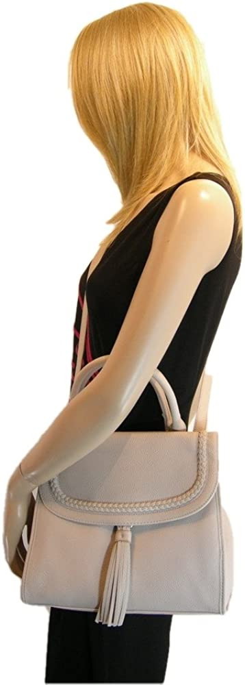 New Nine West Logo Purse Cross Body Hand Bag Natural Satchel Merri-Lee Tassel