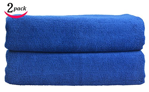 Sinland Microfiber Car Drying Towel Auto Detailing Cleaning Cloths 24 Inchx63 Inch Pack of 2 Blue