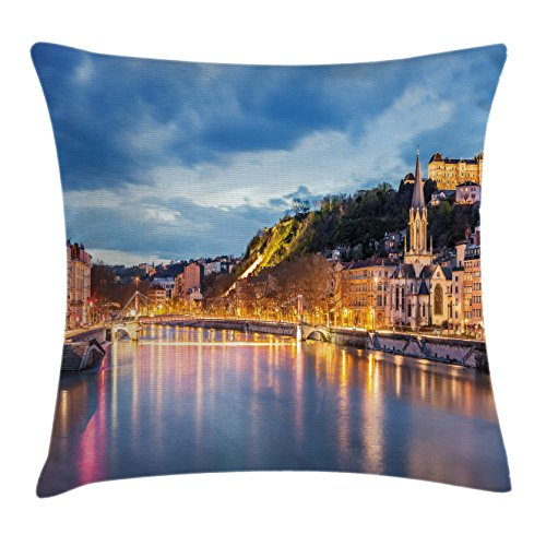 Lyon Bedroom Set (European Throw Pillow Cushion Cover by Ambesonne, View of Saone River in Lyon City at Evening France Blue Hour Historic Buildings, Decorative Square Accent Pillow Case, 40 X 40 Inches, Multicolor)