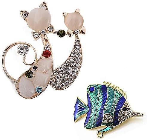 [해외]Fablcrew 고양이 고양이 브 로치 열대어 반짝반짝 스톤 브 로치 멋쟁이 유 장식 인기 그레이스 액세서리 졸업식 입학 식 결혼식 선물 2 점 세트 / Fablcrew Cat Brooch Tropical Fish Glitter Stone Brooch Fashionable Chest Decoration Popular Gr...