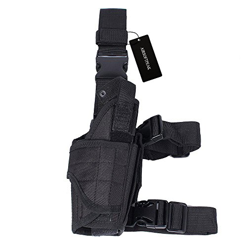 Tactical Leg Holster Universal Pistol Drop Leg Gun Holster Adjustable Hunting Thigh Holster Right Handed with Mag Pouch, Black
