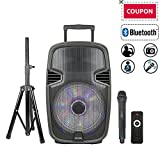 """STARQUEEN 15"""" Portable Bluetooth Speaker, Outdoor Rechargeable PA System with Wireless Microphone/Remote/Wheels/DJ Lights/Stand, Big Karaoke Party Amplifier Sound System with AUX/FM Radio/SD/USB"""