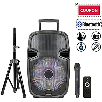 """STARQUEEN 15"""" Portable Outdoor Bluetooth PA Speaker System, with Wireless Microphone and Party Lights for Karaoke, USB/SD/FM Radio Function, Mic/Guitar Jack, Tripod Stand Included - Black"""