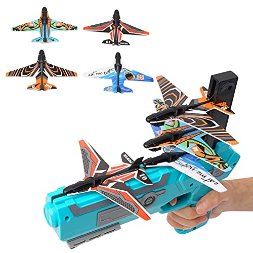Yiexson Catapult Airplane Toy Shooting Racing Toy for Kids/Family/Friends Glider Airplane Launcher Fun Outdoor Toy for Kids ,4 Pop-up Foam Airplane Battle Game (Blue)