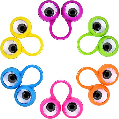 (Jovitec 72 Pieces Eyes Finger Puppet Eyeballs Ring Toy Googly Eyeball Ring for Kids Party Toy, 6 Colors)